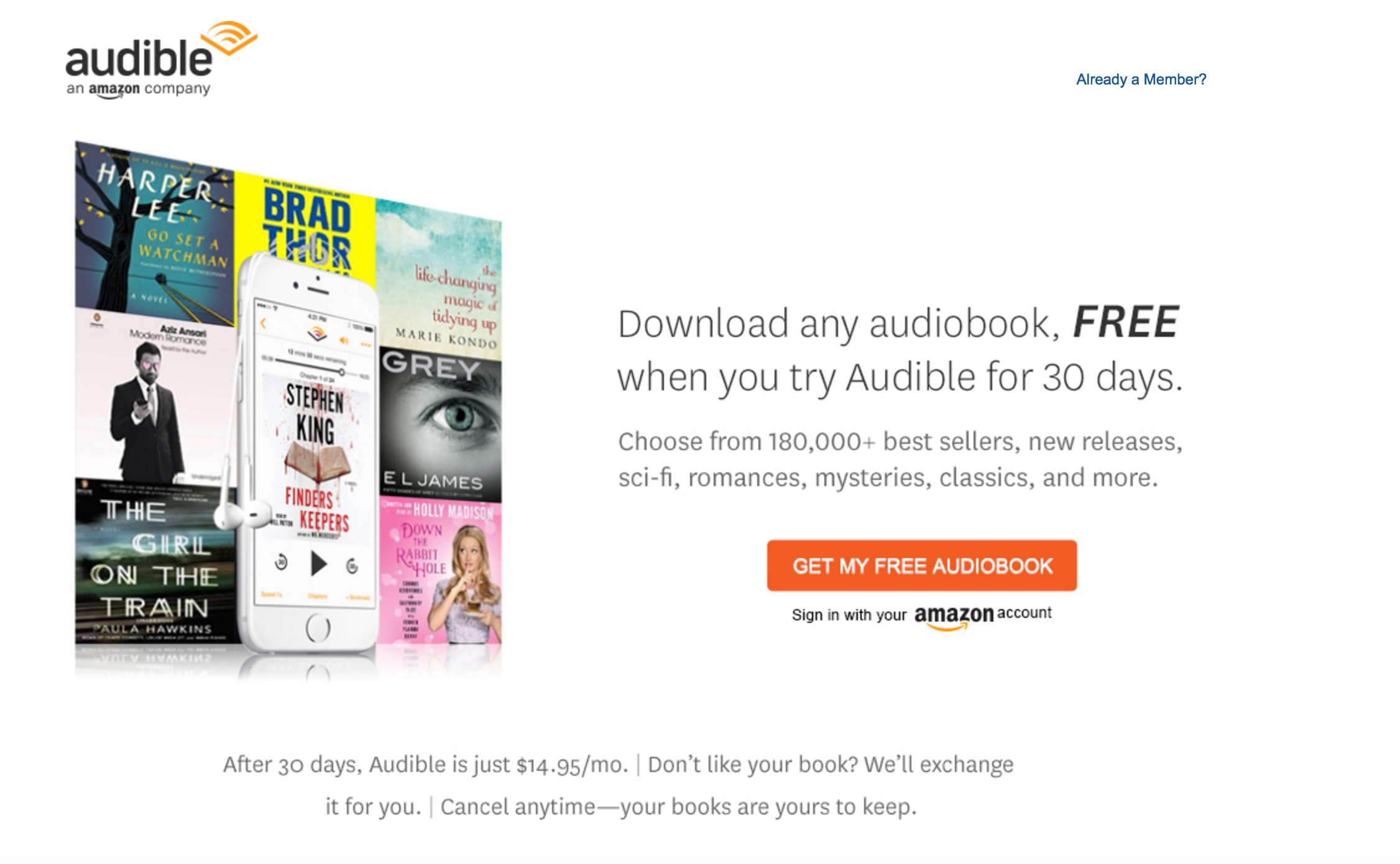 That is, for the books free on Audible Channels. If play a book you have purchased through Audible, the app does download the book. It can be deleted from your phone when you are finished listening.