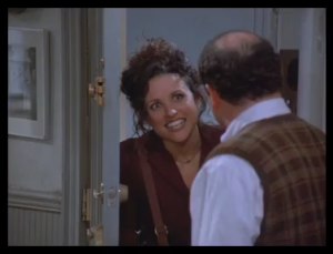Elaine's eyes is on fire!